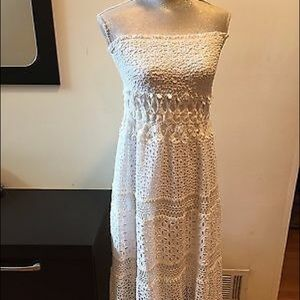 Elie Tahari White Cut Out Lace Strapless Maxi